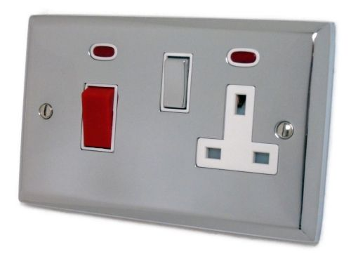 G&H SC229 Spectrum Plate Polished Chrome 45 Amp DP Cooker Switch & 13A Switched Socket
